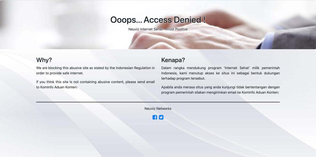 putri cinta blocked website image